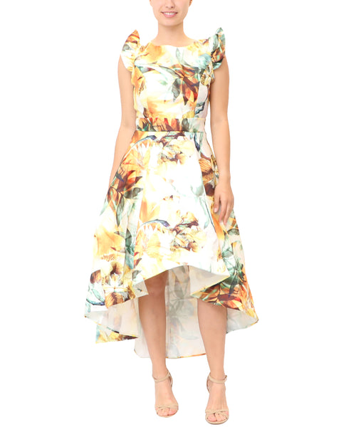 Fit & Flare Hi-Lo Floral Print Dress