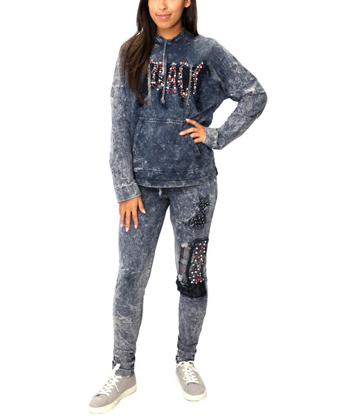 Zoom view for Distressed Knit Sweatsuit- 2 Pc. Set