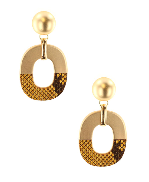 Zoom view for Statement Earrings w/ Snake Print