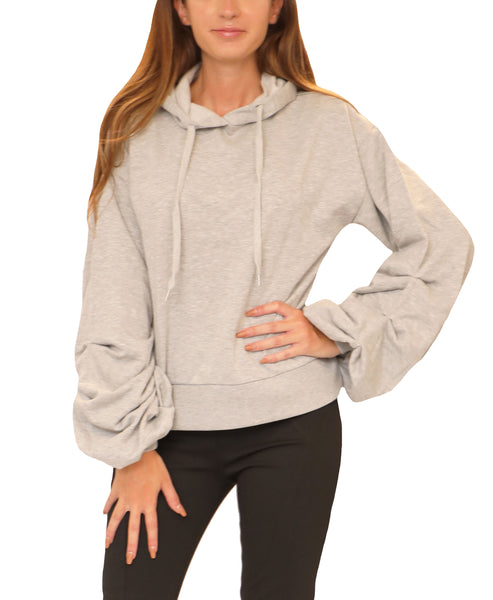 Hooded Sweatshirt w/ Ruched Sleeves