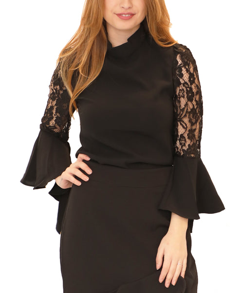 Mock Neck Blouse w/ Lace Bell Sleeves