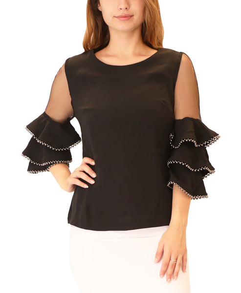 Blouse w/ Beaded Trim Tiered Sleeves - Fox's