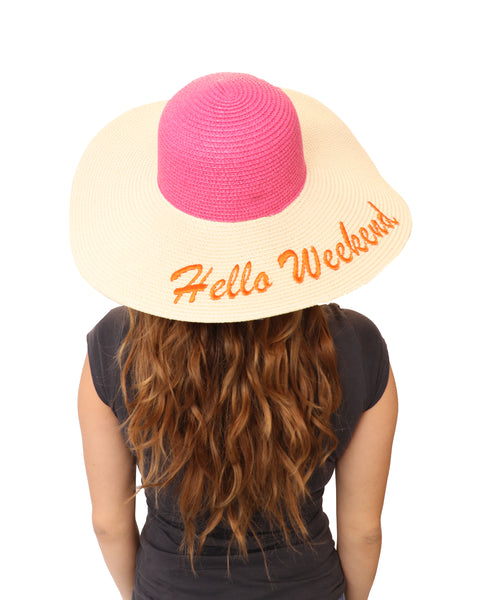 """Hello Weekend"" Floppy Straw Hat"