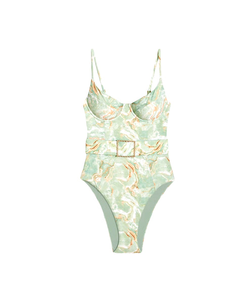 Zoom view for Marble Print Swimsuit w/ Belt