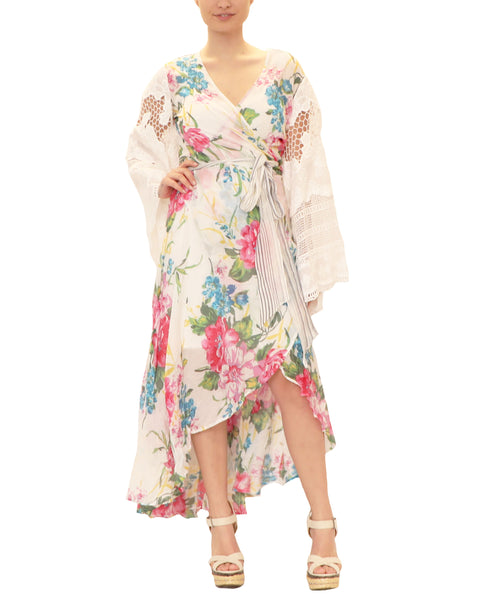Hi-Lo Floral Print Wrap Dress - 2 Pc Set