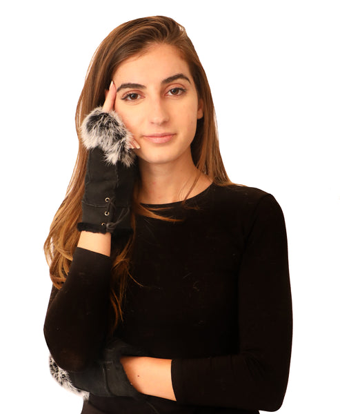 Shearling Fingerless Gloves - Fox's