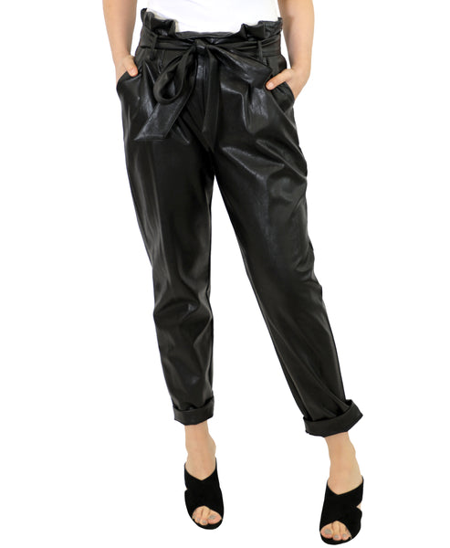 Zoom view for Faux Leather Paperbag Pants