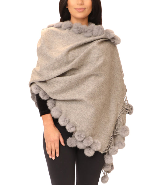 Wool / Cashmere Wrap w/ Fur Pom Trim - Fox's