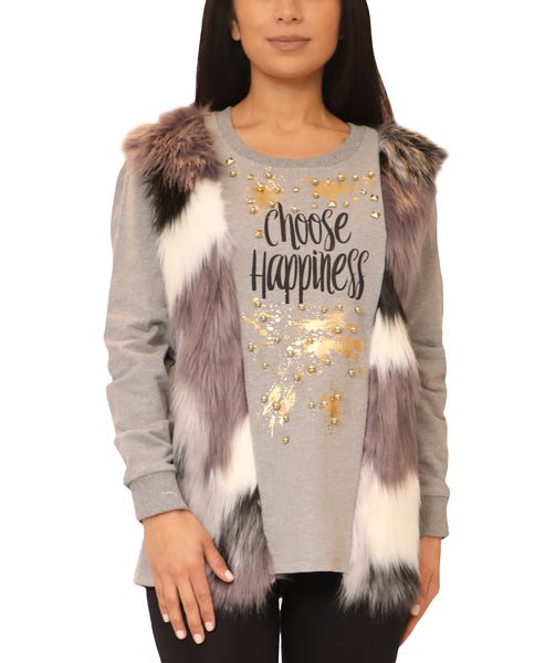 Top w/ Faux Fur & Studs - Fox's
