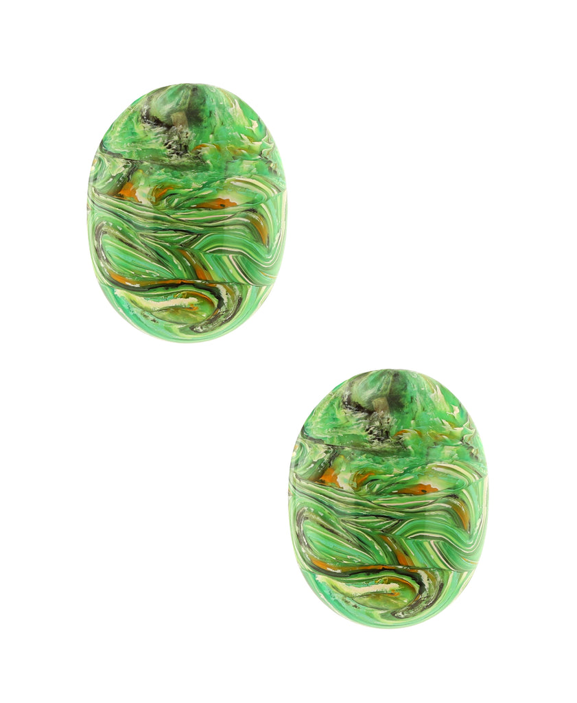 Swirled Paint Oval Clip On Earrings