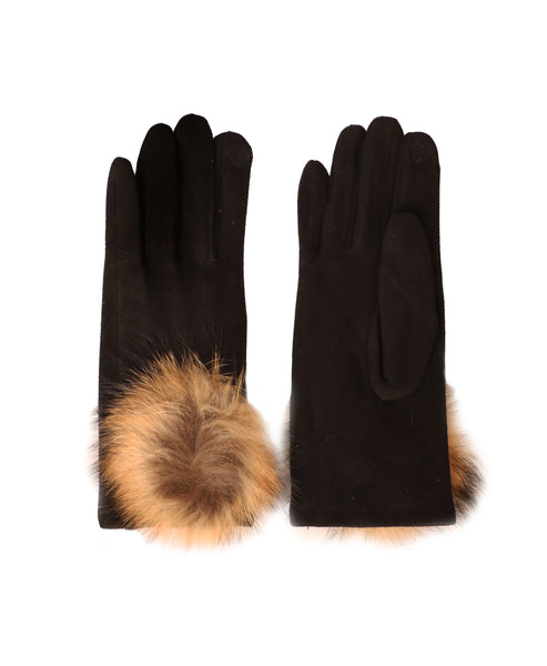 Faux Suede Gloves w/ Fur Cuff - Fox's