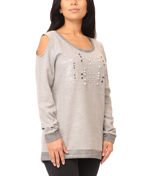 Cold Shoulder Sweatshirt w/ Crystals - Fox's