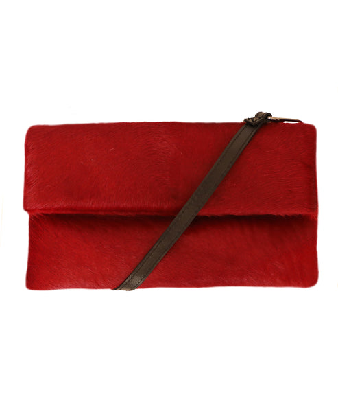 Calf Hair Foldover Clutch Bag - Fox's