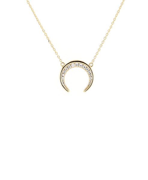 Zoom view for Crescent Moon Necklace w/ Cubic Zirconia - Fox's