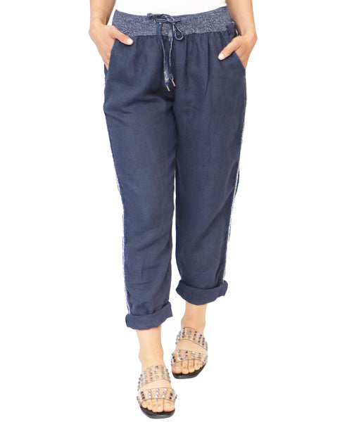 Zoom view for Linen Pant w/ Shimmer Side Stripe