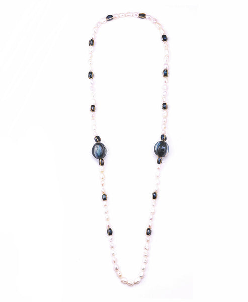 Freshwater Pearl & Ceramic Beaded Necklace - Fox's