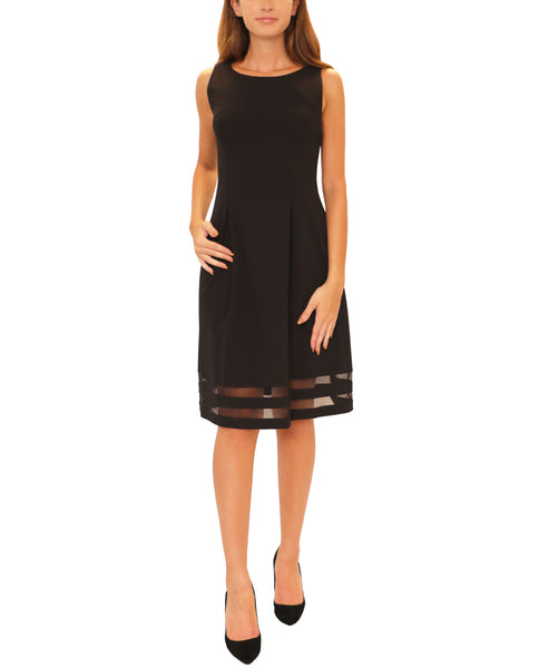 Fit & Flare Dress w/ Mesh Inset