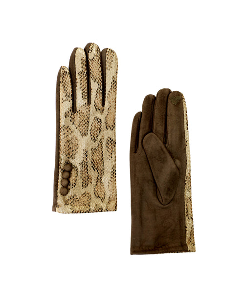 Zoom view for Faux Suede Snake Print Gloves