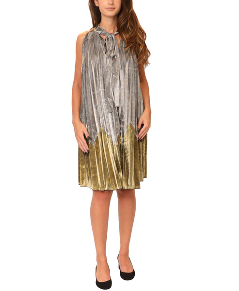 Pleated Metallic Swing Dress