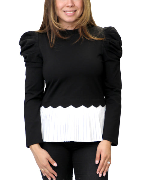 Zoom view for Puff Sleeve Top w/ Pleated Bottom