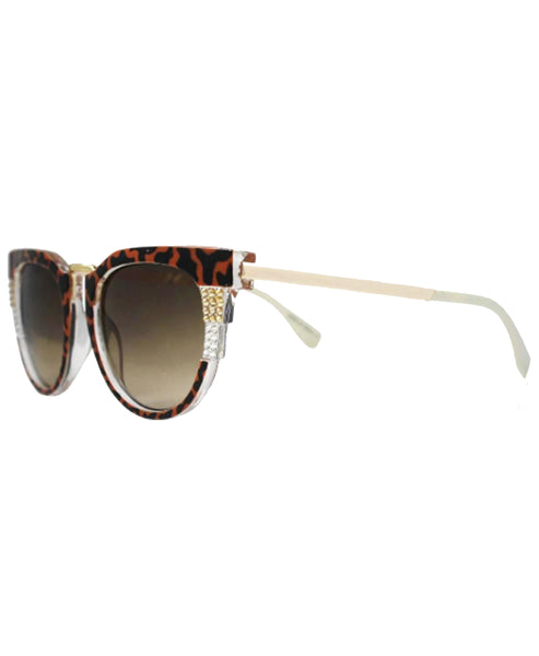 Animal Print Cat Eye Sunglasses w/ Swarovski Crystals