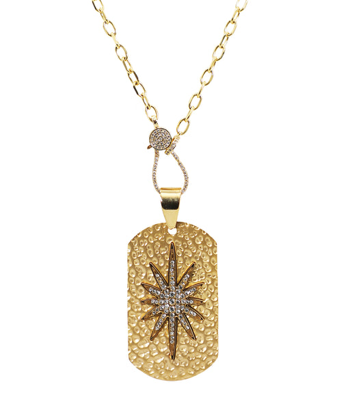 Hammered Dog Tag Necklace w/ Starburst ONLINE EXCLUSIVE - Fox's