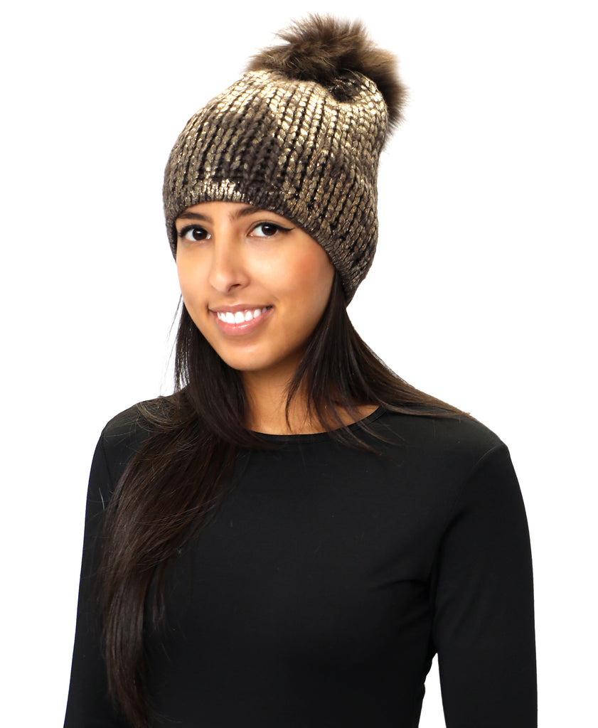 Metallic Knit Hat w/ Fur Pom