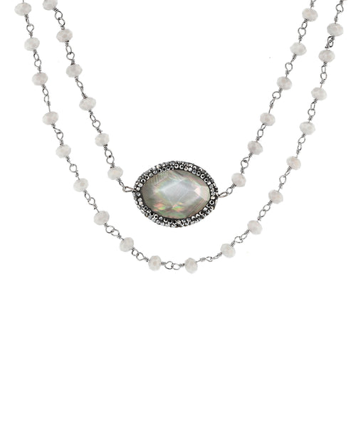 Zoom view for Double Stranded Beaded Necklace w/ Mother of Pearl