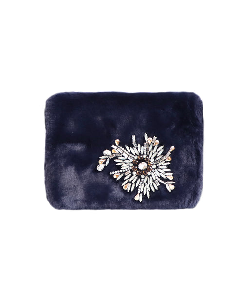 Faux Fur Handbag w/ Jewels