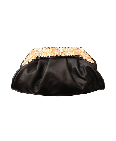 Evening Clutch Bag w/ Leaf & Floral Hardware