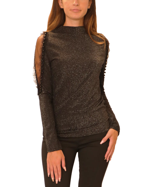 Glitter Mesh Top w/ Pearl Accents - Fox's