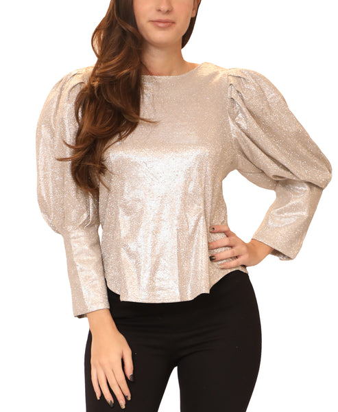 Shimmer Blouse w/ Puff Sleeves - Fox's