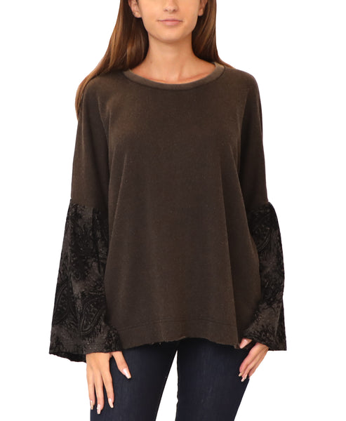 Sweatshirt w/ Burnout Velvet Bell Sleeves