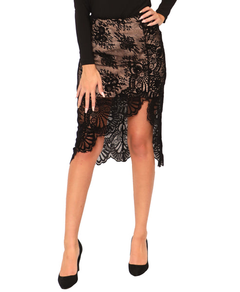 Velvet Laser Cut Lace Skirt - Fox's