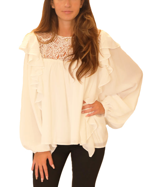 Ruffle Blouse w/ Crochet Lace - Fox's