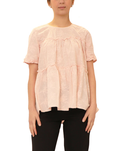 Embroidered Tiered Top w/ Ruffles