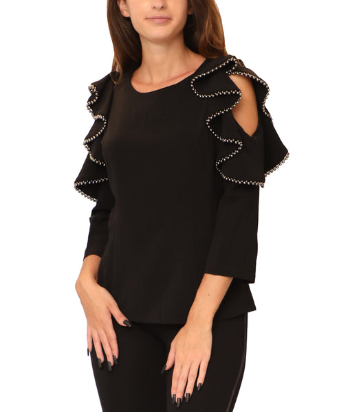 Cold Shoulder Ruffle Blouse w/ Beaded Trim