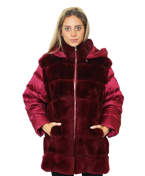 Zoom view for Rex Rabbit Fur & Puffer Coat
