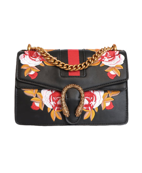 Handbag w/ Floral Embroidery