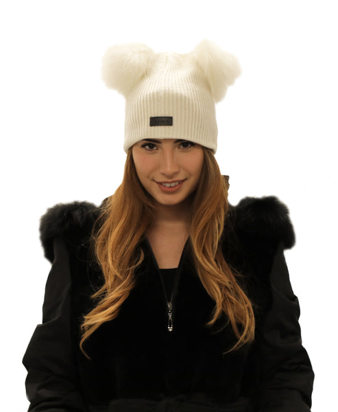 Knit Ribbed Hat w/ Raccoon Fur Pom-Poms