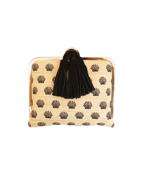 Straw Clutch w/ Embroidered Shells