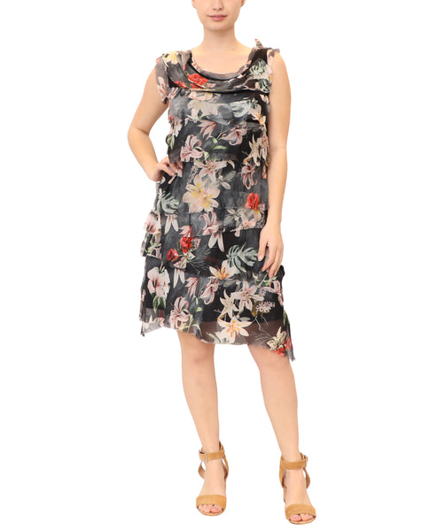 Silk Floral Tiered Dress