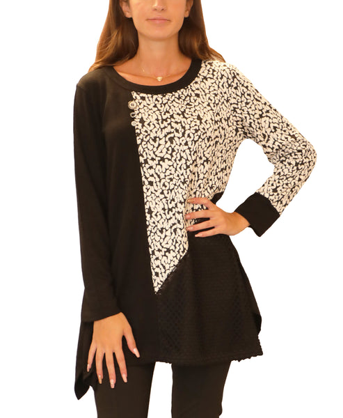 Animal Print Mixed Media Tunic Top - Fox's