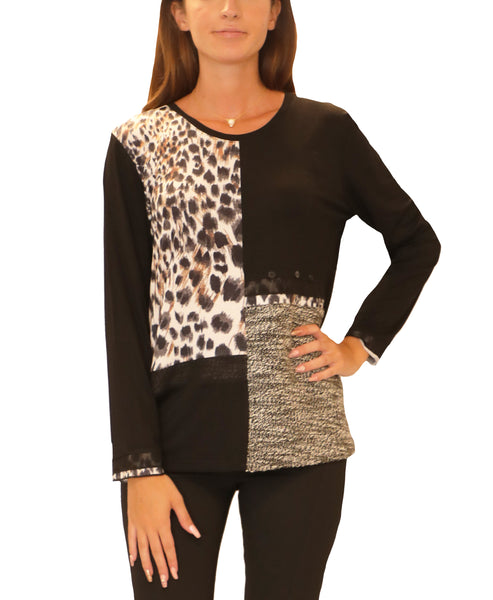 Animal Print Mixed Media Top