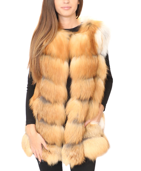 Fox Fur Vest w/ Suede Insets - Fox's