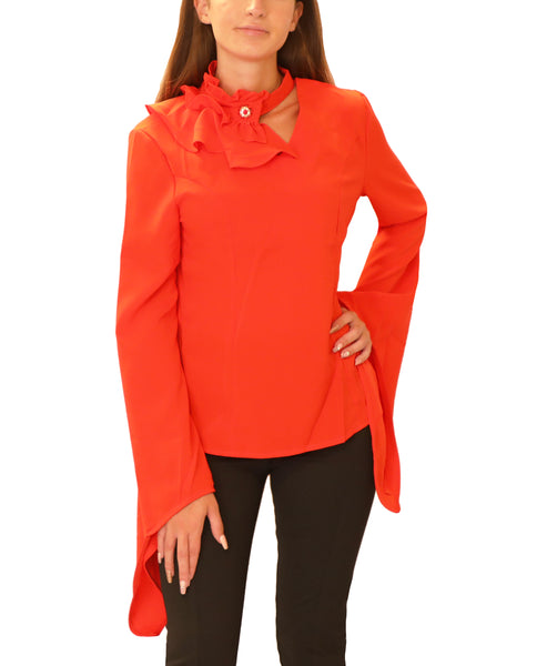Blouse w/ Jeweled Ruffle Neck - Fox's