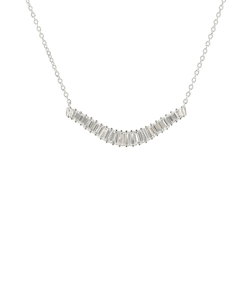 Zoom view for Graduated Baguette Bar Necklace w/ Cubic Zirconia
