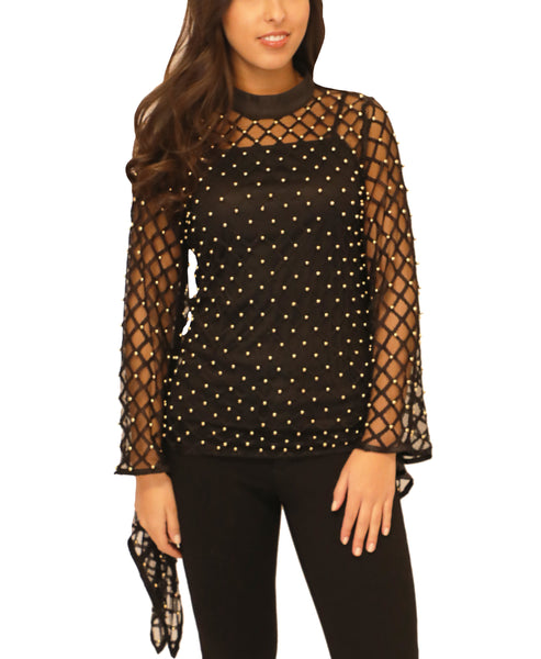 Sheer Mesh Blouse w/ Gold Studs- 2 Pc. Set - Fox's