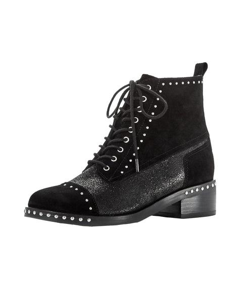 Suede Lace Up Bootie w/ Studs