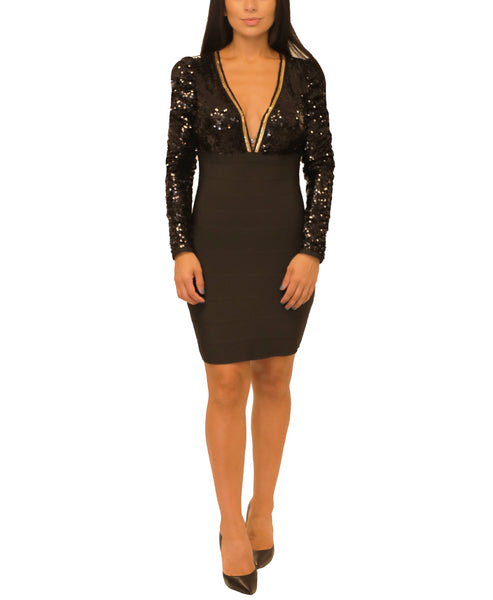 Bodycon Bandage Dress w/ Sequin - Fox's